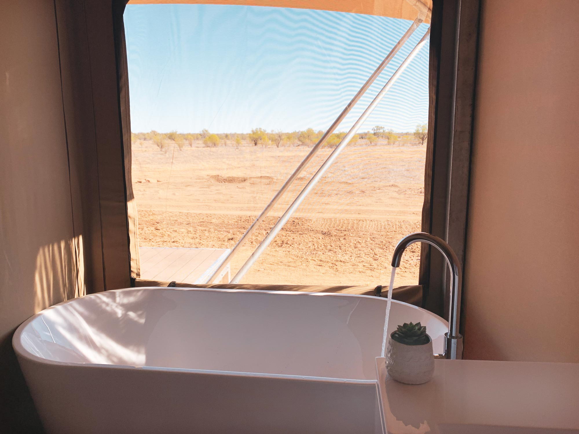 Bath tub in glamping tent