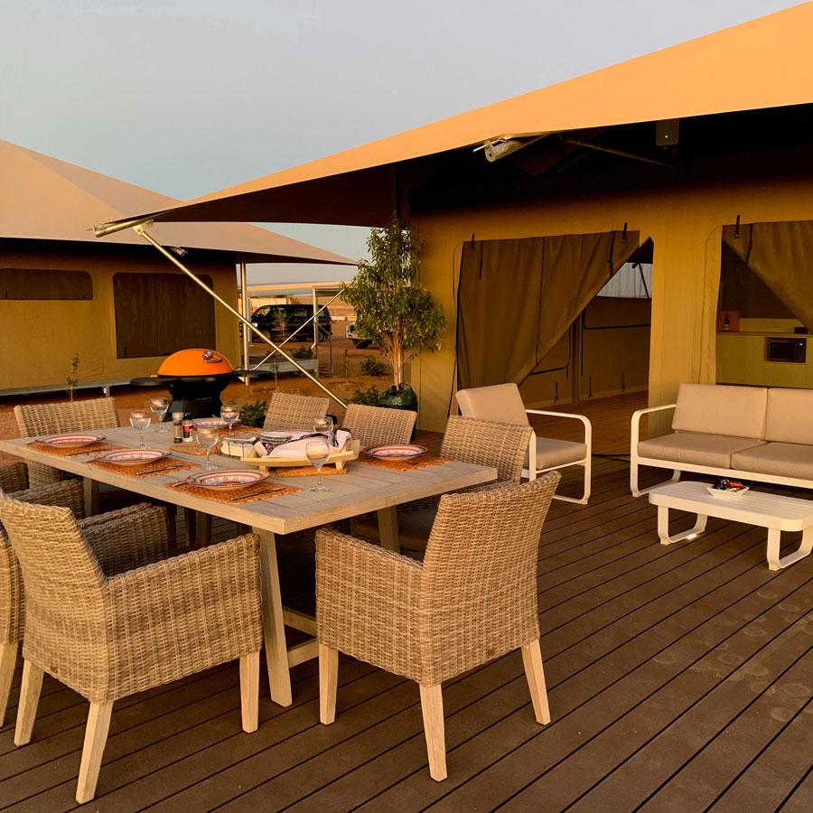 dinner on glamping tent verandah