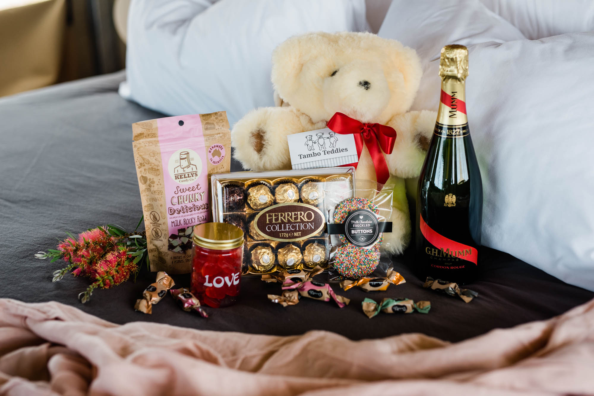 Romance package with teddy, champaign and chocolates