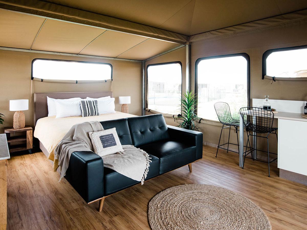 Gidyea tent bedroom interiors